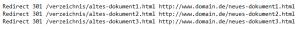 Eine 301-Weiterleitung kann mit htaccess und aktiviertem mod_rewrite Module über den angezeigten Quellcode generiert werden