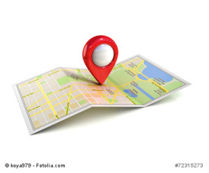 city map with pointer 3d illustration