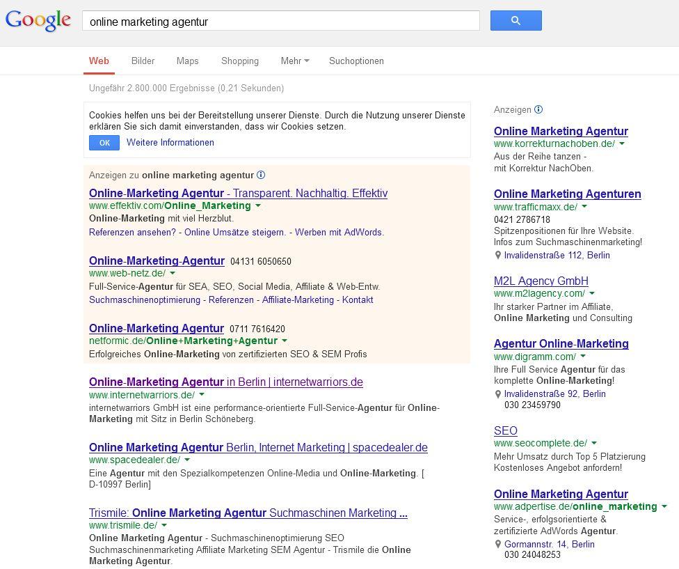 Google lokale Ergebnisse