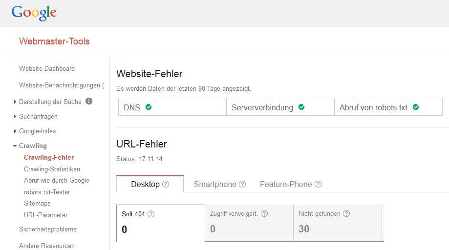 Webmastertools-Serverfehler