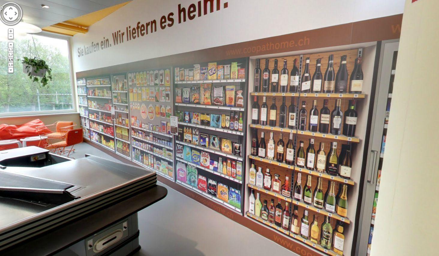 Der virtuelle Coop-Supermarkt bei Google in Zürich. (Quelle: Google Maps)