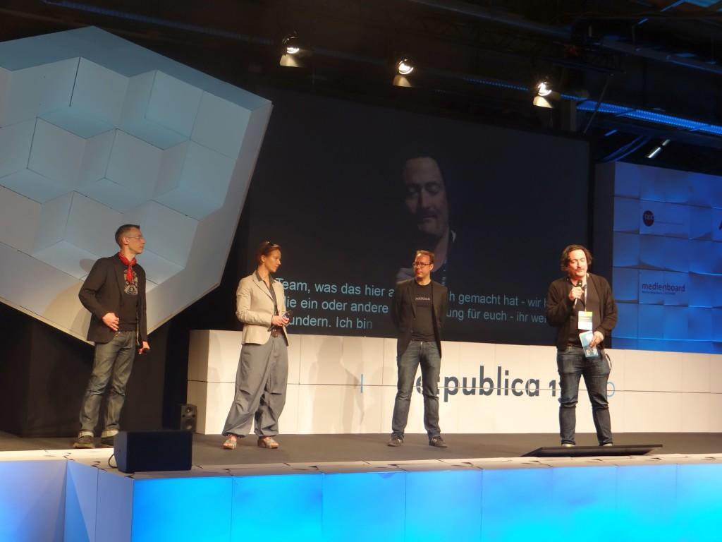 Die Gründer der re:publica auf der Bühne.