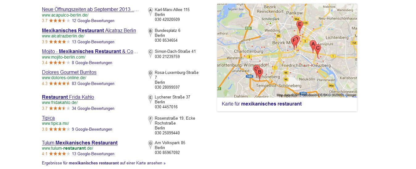 Lokale Ergebnisse bei Google