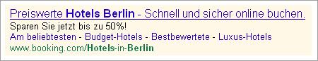 Darstellung Suchergebniss preiswerter Hotels