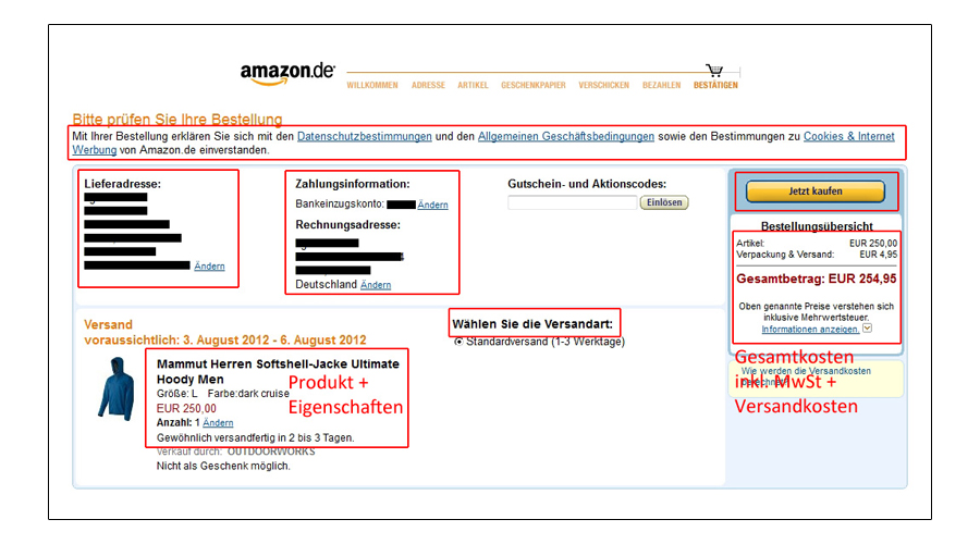 Amazon-Bestellseite