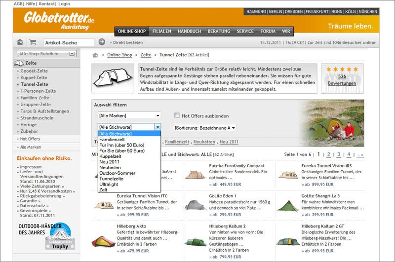 Screenshot des Globetrotter-Artikelsortiers