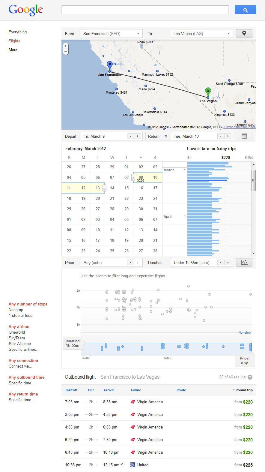 Google-Flights-Suchergebnis