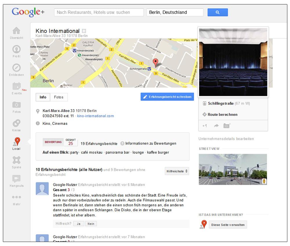 Screenshot: Google+-Local-Eintrag