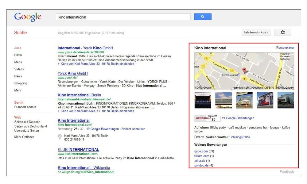 Screenshot: Google-Local-SERPs-Integration
