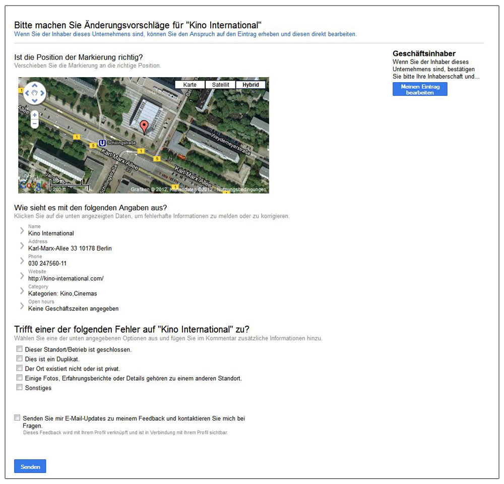 Screenshot: Google-Local-bearbeiten
