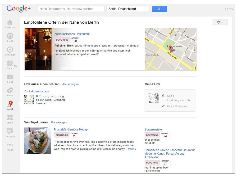 Screenshot: Google+-Local