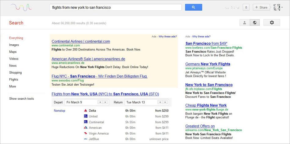 Google-Suche-Flights