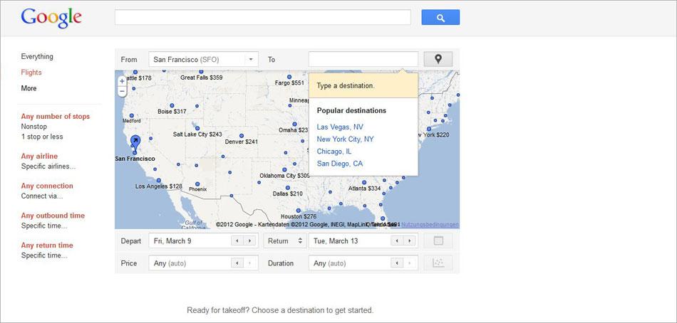 Google-flights-Suche