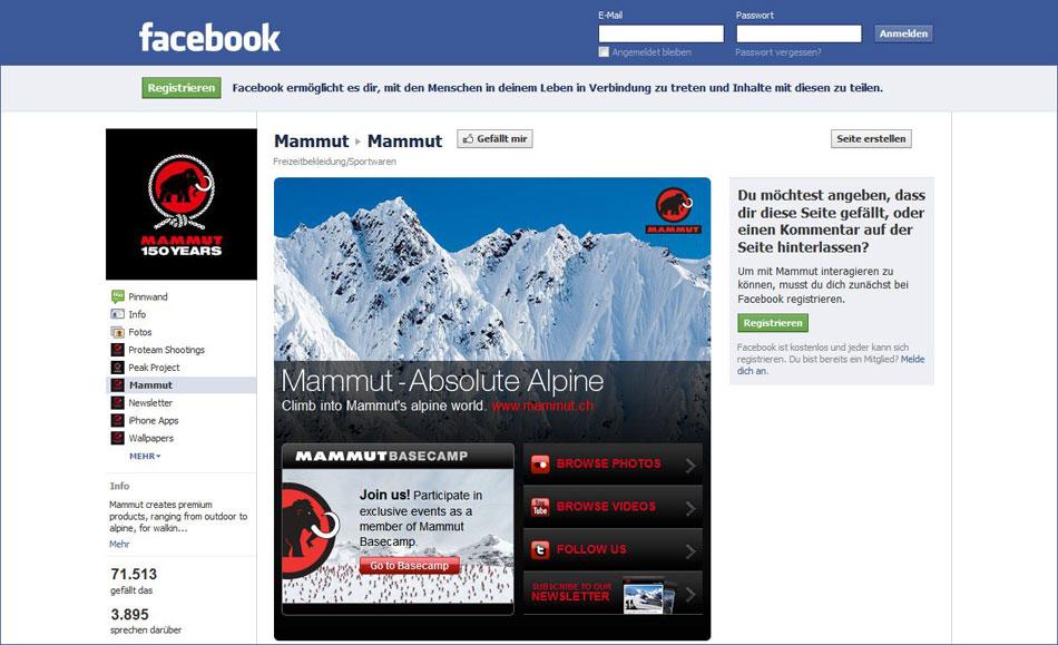 Mammut-Facebook-Fanpage
