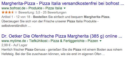 Microdata bei Suche nach Pizza Margarita kaufen
