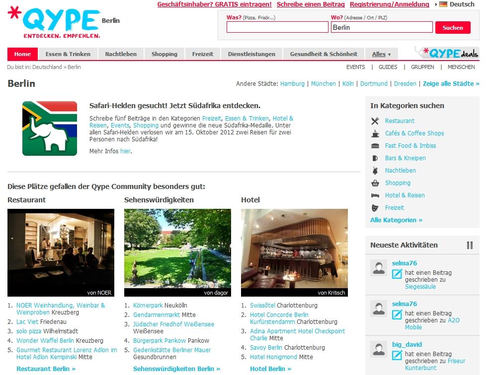 Qype-Startseite