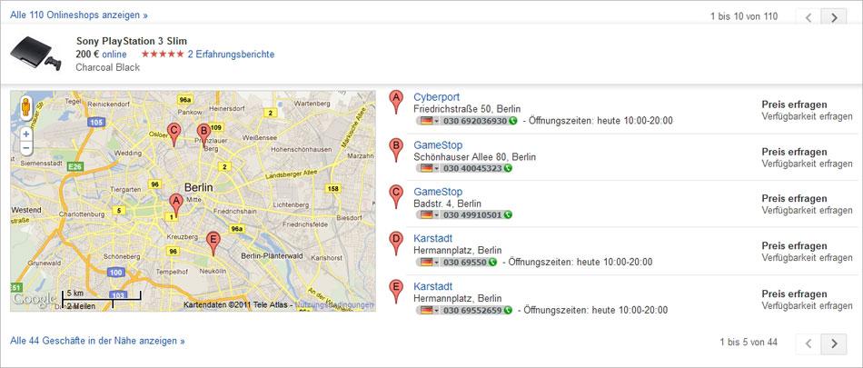 In der Shopping-Produktseite von Google werden alle relevanten Informationen für den User zusammengefasst