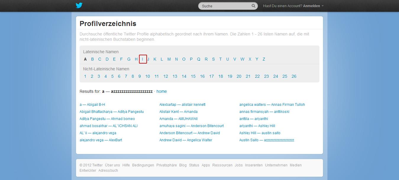 Twitter-Profilverzeichnis