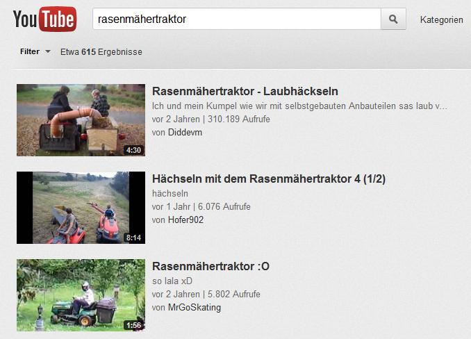 YouTube-Ergebnisliste