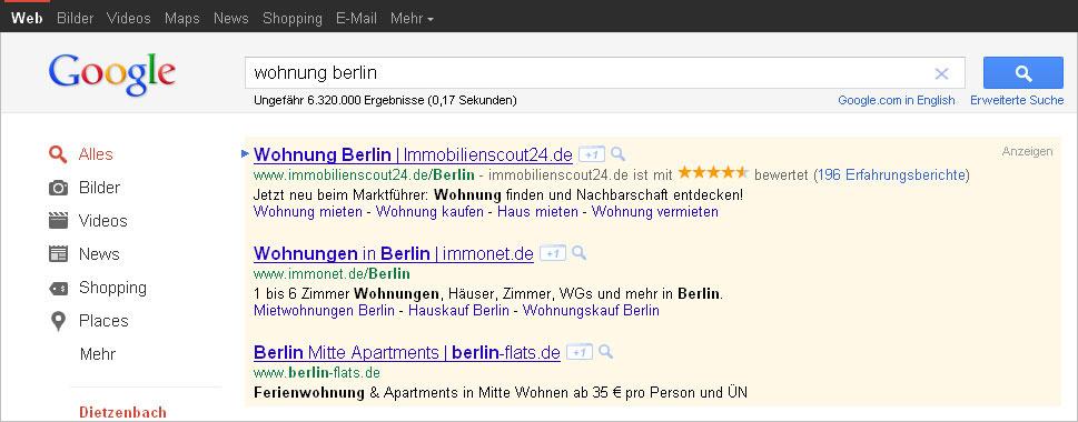 +1 Button neben den Werbeanzeigen von Google AdWords