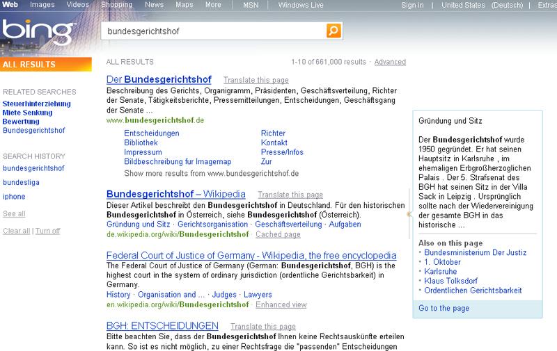 Preview-Funktion der Suchmaschine bing