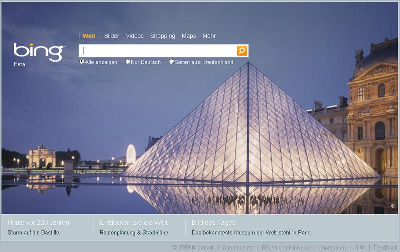 Deutsche Startseite von bing