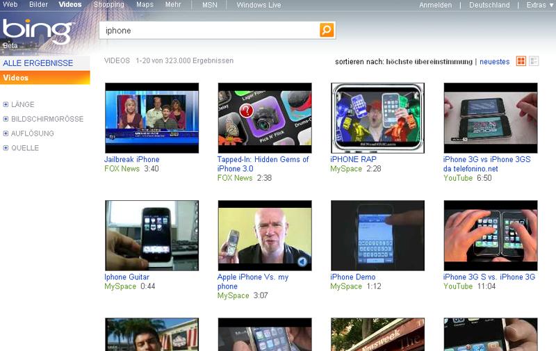 Video-Suche der Suchmaschine bing