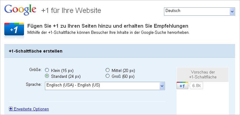 Einstellungen für den +1 Button auf der Webseite