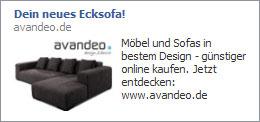 Werbeanzeige eines Möbelverkäufers als externe Anzeige bei Facebook