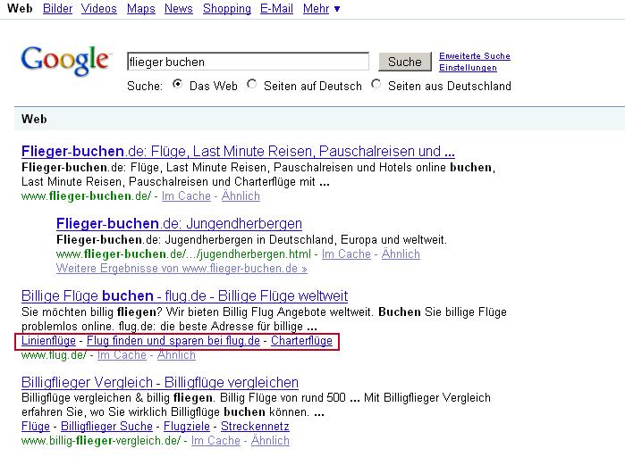 Google Sitelinks innerhalb der Suchergebnisse
