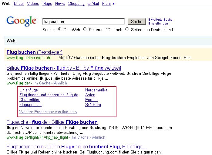 Google Sitelinks unter Platz 1