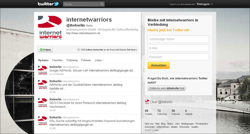 Twitterprofil der internetwarriors GmbH