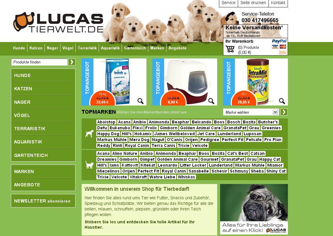 Die internetwarriors GmbH relaucht den Webshop von Lucas Tierwelt