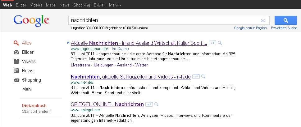 + 1 Button hinter organischen Suchergebnissen