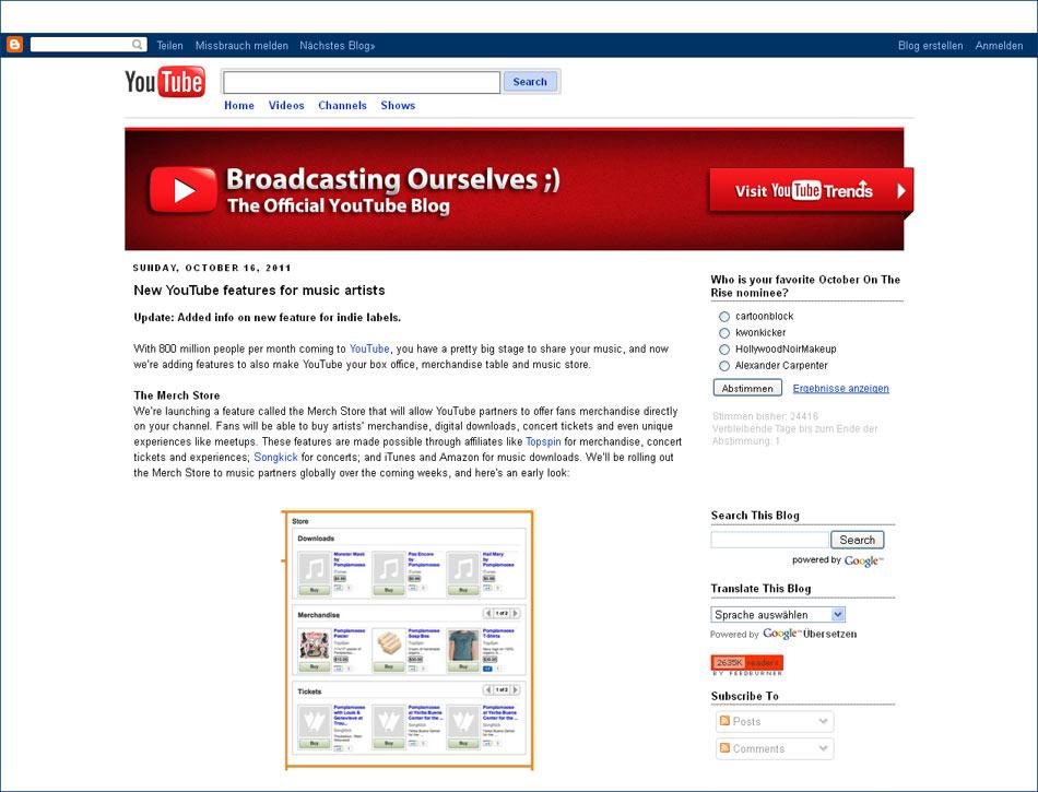 Startseite von YouTube Broadcasting