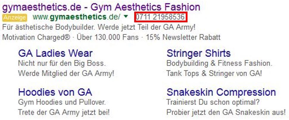 Google AdWords bietet Ihnen nurn die Möglichkeit, direkt beim Anzeigenschalter anzurufen