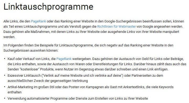 Google-Linktauschprogramme