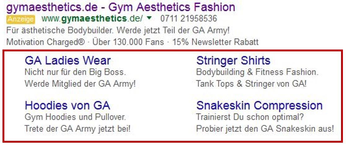 Google AdWords integriert Sitelinks in seine Anzeigen