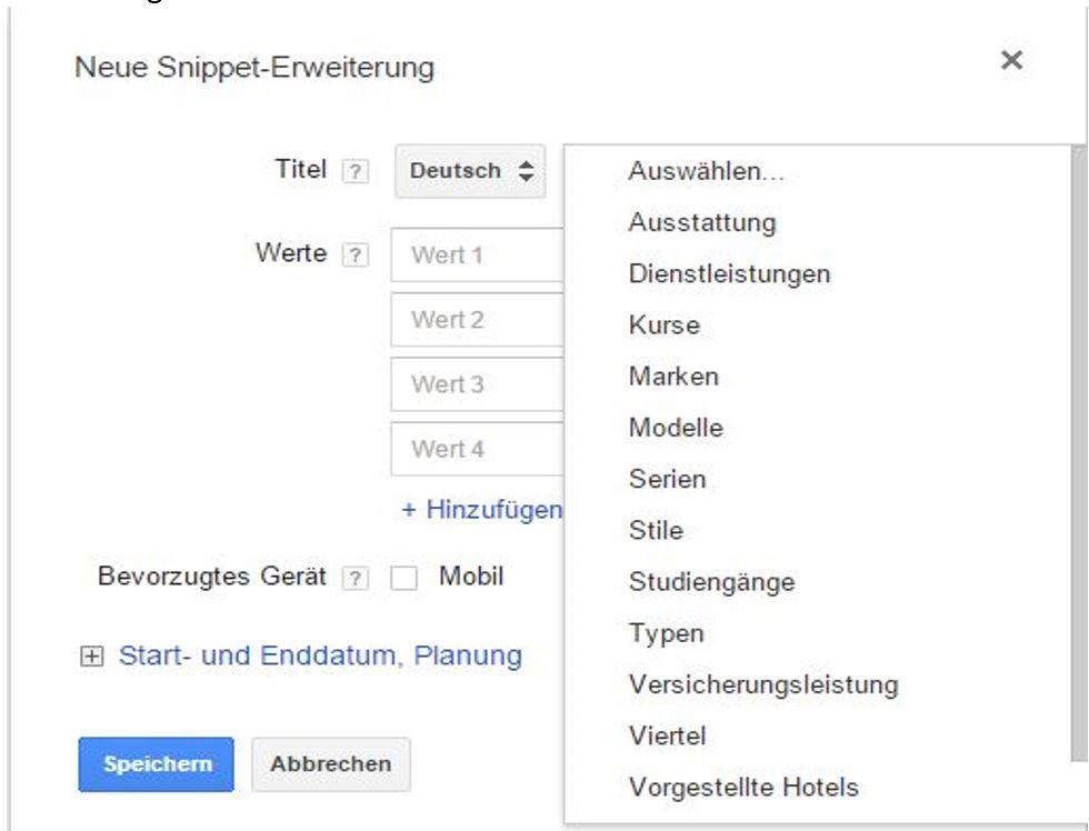 So können Sie die Snippet Erweiterungen in AdWords einrichten