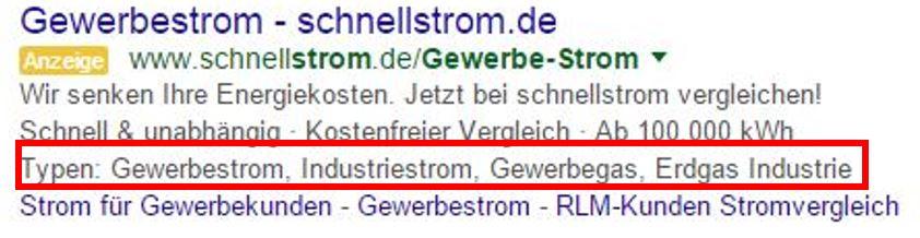 Aktivierte Snippets in Google AdfWords am Beispiel Schnellstrom