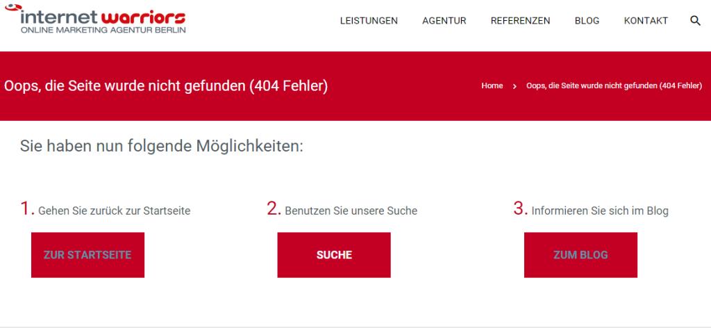 Beispiel einer 404-Fehlerseite