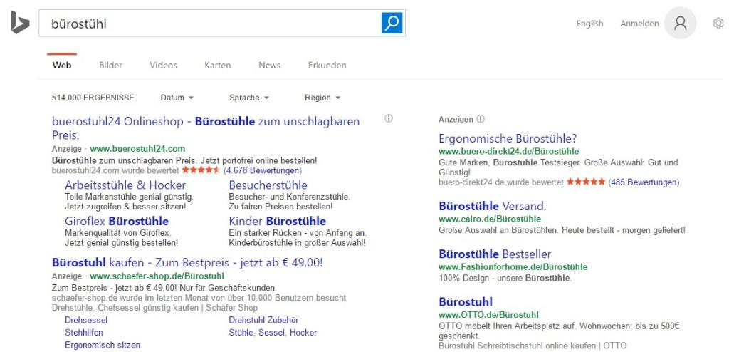 Darstellung der Suchergebnisse für Bürostuhl von Bing über die BindAds