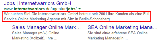 Meta Description der Jobseite der internetwarriors GmbH