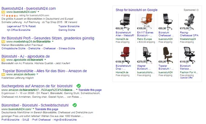 Neue Darstellung der Suchergebnisse bei Google (keine Anzeigen im rechten Bereich)