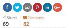 Darstellung Shares und Comments von einem Beispielartikel