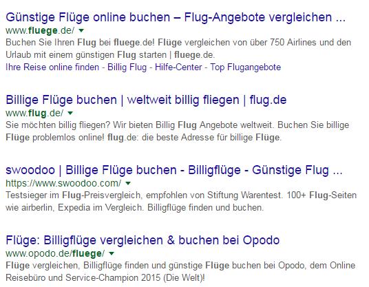 """Google Suchergebnisseite für den Suchbegriff """"Flüge"""""""