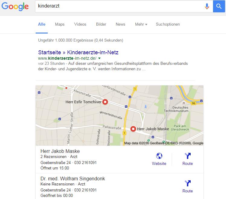 """Lokale Suchergebnisse zum Thema """"Kinderarzt"""""""