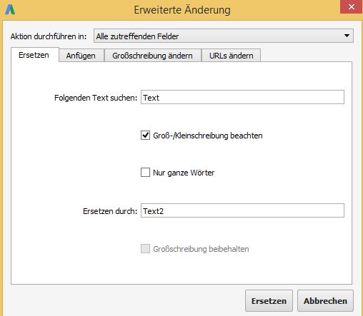 """Fenster mit der Funktion """"Suchen und Ersetzen"""" im AdWords Editor"""