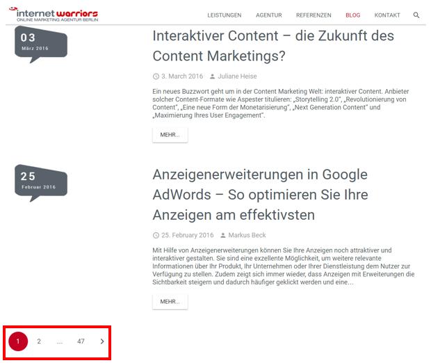 Blogseite der internetwarriors GmbH mit der Darstellung von paginierten Seiten per Nummerierung