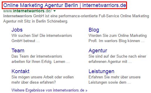 Anzeige von Seitentiteln in den Google Suchergebnissen inkl. Sitelinks